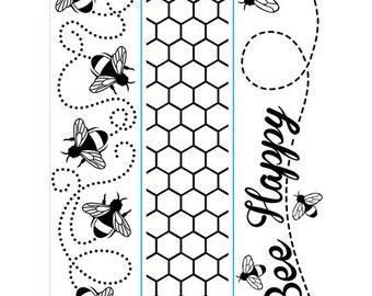 "DARICE-  "" BEE HAPPY ""  BORDeRs -  3  EMBOSsING FoLDeRS - NeW - BUMBLeBEEs HONeYCOMB"
