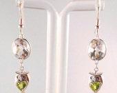 Crystal Quartz Peridot Sterling Silver Owl Earrings