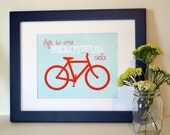 Gift for cyclists 8x10 Bike lover Life is a beautiful ride Adventure art Bike print Bicycle art Marathon gift Gift for marathoner Beautiful