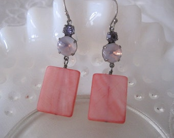Salmon Pink Mother of Pearl Rectangle Drop Earrings