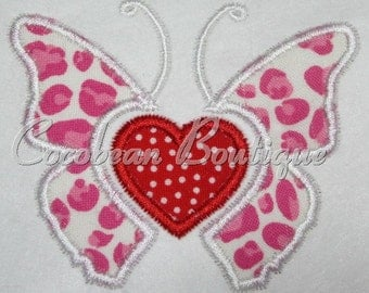 embroidery applique butterfly heart