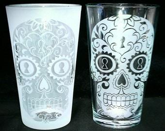 Sugar Skull Heart & Key Lock Drinking Glass