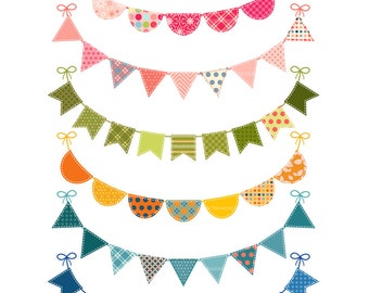 6 Bunting Digital clip art for Personal and Commercial use -  INSTANT DOWNLOAD
