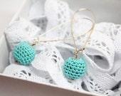 Crochet Turquoise Earrings - Handmade textile jewelry