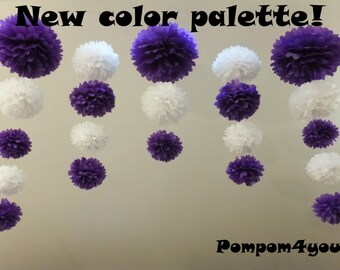 2 x 21 Pom Poms garland and 5 Free Tissue Paper flowers