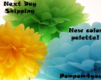 10 Tissue Paper Pom Poms and 5 FREE MINI Pom poms - Next Day Shipping