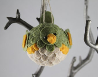 Sage Green, Gold, and Off-White Felt Hanging Bird Ornament