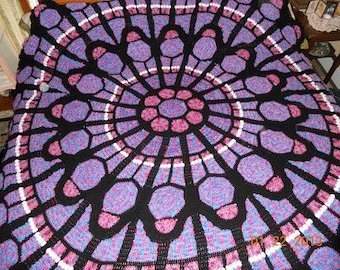 Cathedral Window Rose Afghan