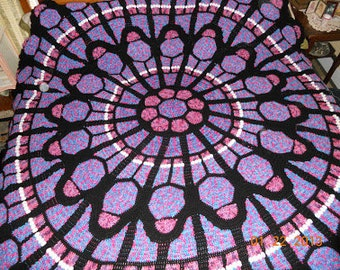 Cathedral Window Rose Afghan