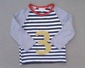 Upcycled Boys 3rd Birthday Shirt. Third Boy Birthday Photo prop. Green, Orange, Black, White. Lilhoot. READY TO SHIP
