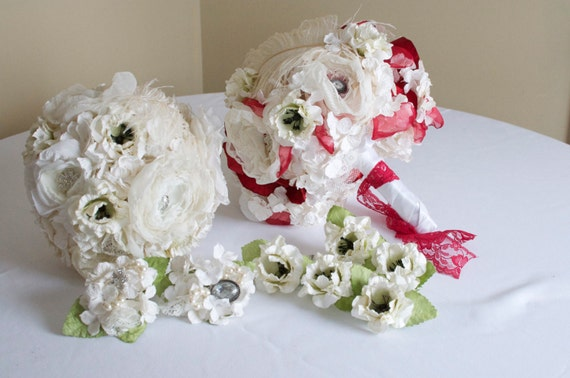 RESERVED Winter Red and white paper flower and fabric flower bouquet, wedding set.