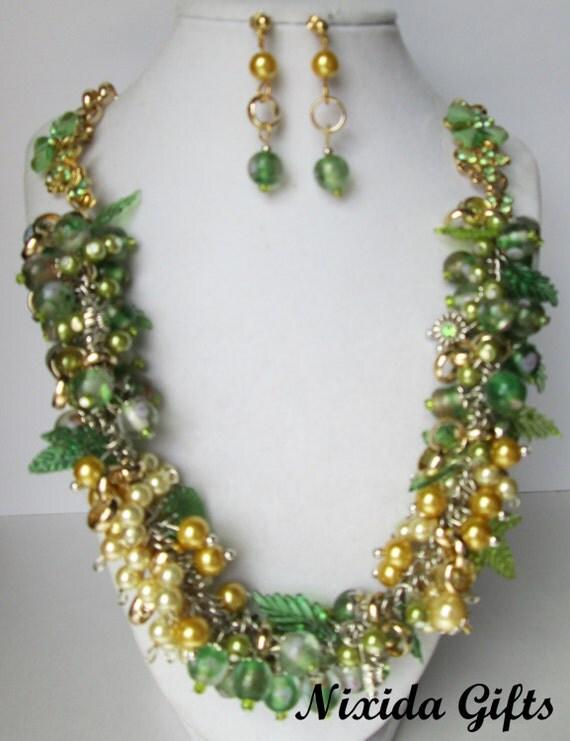 Gold & Silver Rhinestone Flower Cluster Necklace Set