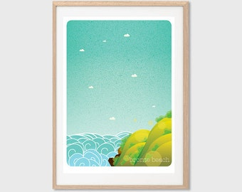 AUSTRALIA | Bronte Beach Poster : Modern Illustration Retro Art Wall Decor Print
