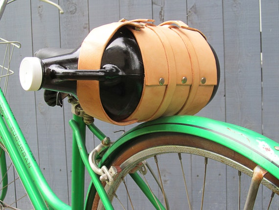 Leather Bike Growler Cozy (Natural Leather Color)  / Made in USA