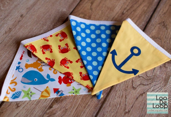 Down by the Sea Fabric Party Bunting Banner with crabs, anchors, whales