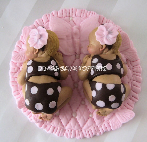 Items similar to Butterfly Twin Girls Baby Cake Topper ...