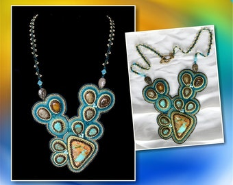 Turquoise Bead Embroidered Necklace EBEG
