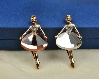 1PCS Crystal Ballet Girl Flatback Alloy jewelry Accessories materials supplies