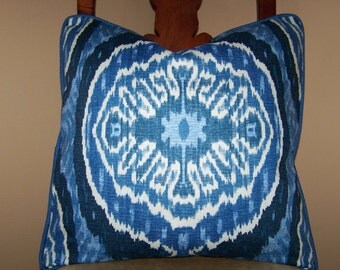 Ready to Ship - Duralee Masala Denim Ikat 20 x 20 pillow cover with denim cording