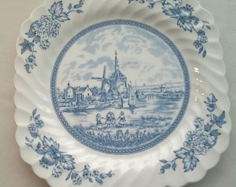 "Blue and White Johnson Bros 7 3/4"" Salad Plate with Tulip Time Pattern of Dutch Scene."