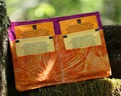 Tea Wallet - Bright Orange and Fuschia Batiks