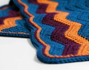 Crochet Baby Blanket // Chevron, Ripple Blanket in Teal, Orange, Purple