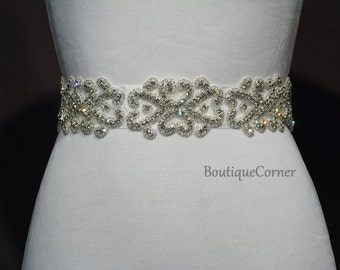 Bridal Sash-Beaded Rhinestone Sash-Wedding Accessory-White Ribbon Sash-Bridal Belt-Bridal Accessories
