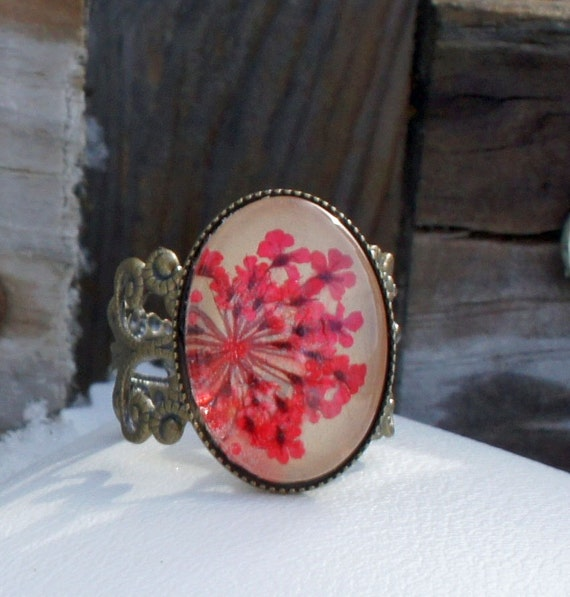 real flower ring  - dried flowers gardeners gift with beige leather, real pressed red little flowers and glass cabochon