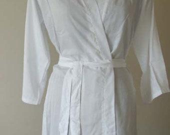 White Bridal Robe Robe for Bride Wedding Robe Getting Ready Gown Cotton White Robe for Bride White dress D37