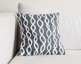 Stone Grey DNA Pillow - 13 x 13 in. - Hand Printed and Made with Linen