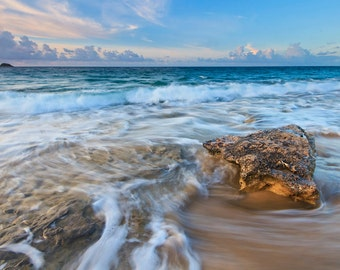 Seascape Photography, Caribbean Beach Decor, Nevis Photo Print, Coastal Wall Decor, Large Artwork Tropical Picture Ocean Sea Waves Blue Teal