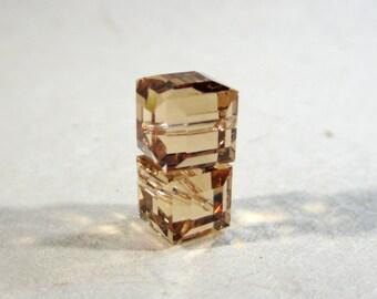 Swarovski Crystal 5601 Faceted Cube Bead 8mm Light Colorado Topaz - 2 BEADS