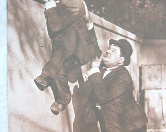 LAUREL & HARDY Boost over the Wall Movie prints 11x14 Sepia   1970s