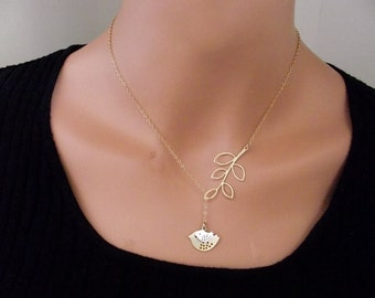 Gold & Silver plated Bird and Branch Necklace, Gold Sparrow Necklace, Gold plated  Mod Bird Necklace -  Cute, Dainty, mother, mom, teen