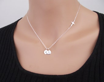 Small Sideways Cross with two (2) Initial Necklace, Personalized Necklace, Silver Sideways Cross, Sterling Silver,
