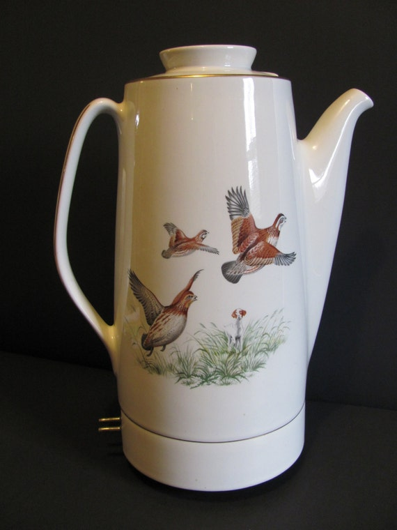 Hall China Electric Coffee Pot Percolator By Mamabirdsvintage