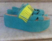 Leather Sandals with platform, Height: 2.8 inch. (8 cm)/ wedge shoes.  (also available in large size)