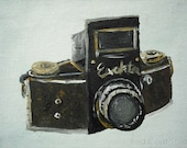 Vintage Camera Wall Art Print from Original Painting - Elektra