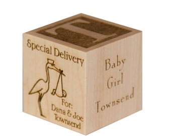 Custom Baby Shower Block, Baby Shower Centerpiece, Couples Shower Block, Stork Gift, Baby Shower Girl, Baby Shower Boy, Special Delivery