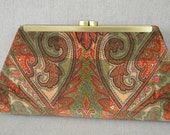 Medium Clutch Purse - Printed Paisley on Checkerboard Velvet with Antique Brass Frame.