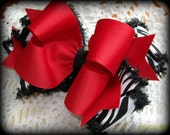Zebra Hair Bow....Girls Hair Bow...Zebra and Red Hair Bow.....Toddler Hair Bow...Infant Hair Bow
