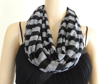 Grey And Black Stripe Circle Scarf. Stripe Infinity Scarf. Soft Cotton Spandex Loop Scarf.