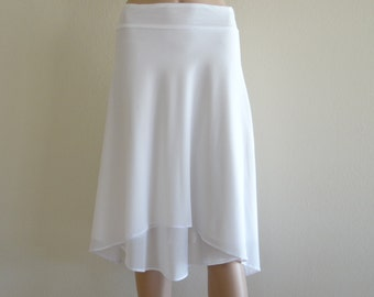 White Bridesmaid Skirt. Knee Length Skirt. White Evening Skirt. Stretch Short Skirt.