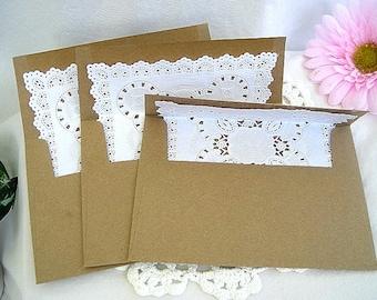 Rustic Lace Wedding Invitation Lined Envelope w Doily Lace Kraft Wedding Envelopes Vintage Rustic Lace Wedding Envelope A7 Kraft Envelope