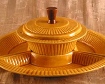 California Pottery Gold Party Server with Ribbed Design Mid Century Snack Server Vintage 1960s