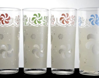 4 Anchor Hocking White and Satin Swirl Iced Tea Glasses with Pastel Pink Green and Blue Swirly Tops Set of 4 Vintage 1960s