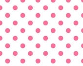 SALE Pink Polka Dot on White Quilting Fabric - 1 yd