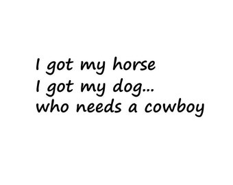 Horse Decal Truck Decal Car truck l got my horse my dog who needs cowboy humor decal
