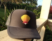 Charcoal Hand Painted Sunrise Shell Hat