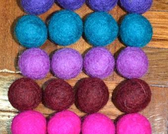 20pcs Berries Collection Wool Felt Balls (1cm, 1.5cm, or 2cm)